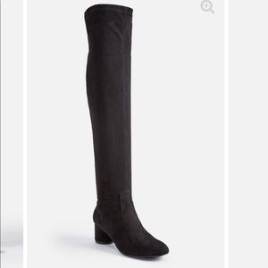 Faux suede over the knee boot black